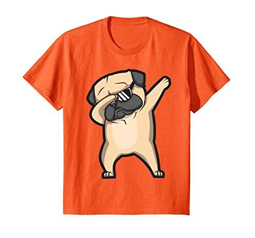 Kids Dabbing Pug Shirt   Cute Funny Dog Dab T Shirt 12 Orange