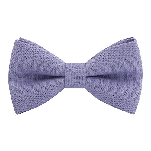 - Linen Classic Pre-Tied Bow Tie Formal Solid Tuxedo, by Bow Tie House (Medium, Lavender)