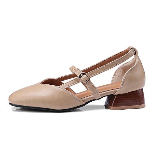 GAOLIM Zapatos De Mujer De Verano Fiesta Salvaje Cabeza V-Correa Ranurada Hollow Package Con Zapatos De Mujer Sandalias Tendencia. Beige