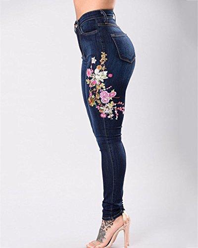Ricamo Strappati Legging Scuro Pantaloni Vita A Skinny Jeans Donna Alta Elasticità Ginocchio Blu HTBtvqw5