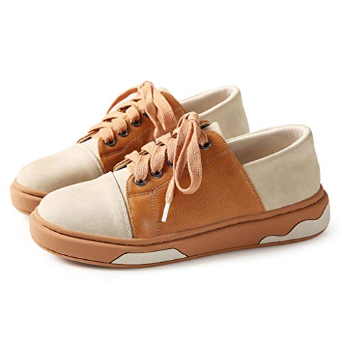 Flat New Casual Chaussures Sweet 's Brown Fashion Respirant Up PU Lace Printemps Sneakers Chaussures Cuir Women en 1UdAdq