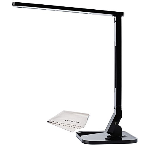 Dimmable LED Desk Lamp, 4 Lighting Modes(Studying, Reading, Relaxing, Sleeping), 5 Level Dimming, 1 Hour Auto Timer, Touch Sensitive Control, Modern, - Piano Black