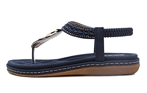 Maybest Women Sandwich Sandals Rhinestone Clip Toe Beach Shoes Elastic T-Strap Bohemia Flat Slippers Thongs Flip Flop Blue 9 B (M) US Photo #2