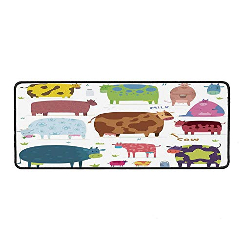 Kitchen Decor Wristband Mouse Pad,Cartoon Cows Colorful Barnyard Animals Bucket Cafe Home Design Pattern Art for Home Desk Computer Desk,15.75''Wx35.43''Lx0.12''H
