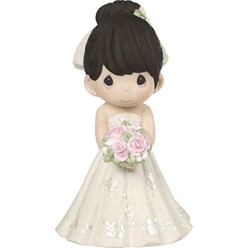 (Precious Moments Perfect Couple Bride, Black Hair With Light Skin Tone Bisque Porcelain Wedding Figurine & Cake Topper, 172063)