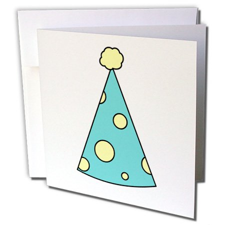 Janna Salak Designs Birthday - Cute Birthday Hat Blue with Yellow Dots - 6 Greeting Cards with envelopes (gc_39691_1)
