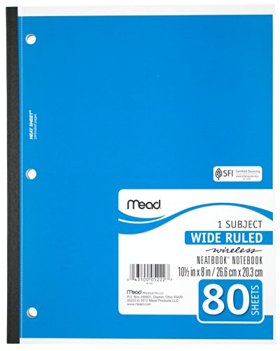 043100052227 - Mead 1-Subject Wireless Notebook, 10.5 x 8 Inches, Wide Ruled, 80 Sheets (05222) carousel main 4