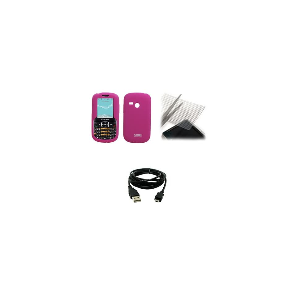 EMPIRE Hot Pink Silicone Skin Case Cover + Universal Screen Protector + USB Data Cable for Virgin Mobile LG LG200
