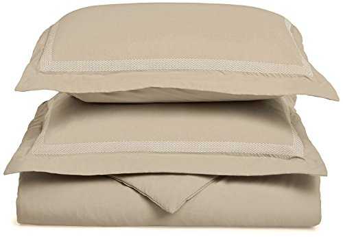 Super Soft Light Weight, 100% Brushed Microfiber, Full/Queen, Wrinkle Resistant, Tan Duvet Cover with Peaks Embroidery Pillowshams in Gift Box