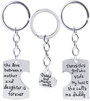 طقم سلسلة مفاتيح من 3 قطع تعليقات للاسرة - هدية رائعة للاب والام والابنة في راس السنة