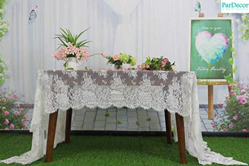 French Floral Robe - ParDecor Wedding White-Lace-Tablecloth 60X126-Inch French Chantilly Lace Scalloped Floral Motifs in Off-White for Lace Kimono Bridal Robe Baptism Gown