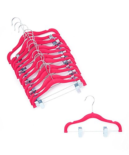 [Home-it 12 PACK baby hangers with clips PINK baby Clothes Hangers Velvet Hangers use for skirt hangers Clothes Hanger pants hangers Ultra Thin No Slip kids hangers] (Childrens Pant Hangers)