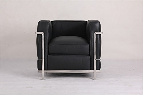 Krafteriors - Corbusier Leather Seat, Chair, Black, Set of 1