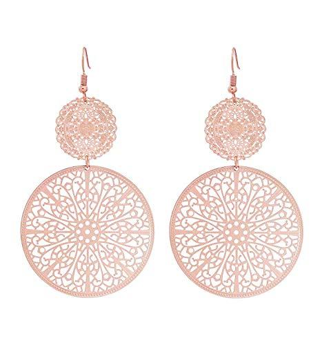 Tiande Filigree Disc Drop Earrings Double Round Disc Statement Earrings Metallic Brass Disc Dangle Hook Earrings - Rose Gold