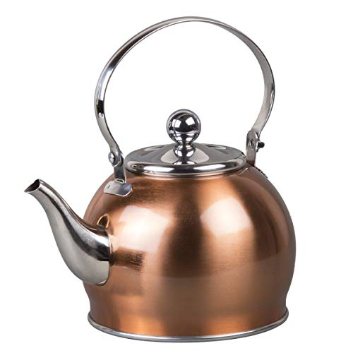 Creative Home 77094 Royal Stainless Steel Tea Kettle with Removable, 1.0 Quart, Copper Color Finish