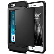iPhone 7 Case, SAMONPOW Hybrid Dual Layer Armor iPhone 7 Wallet Case Card Holder Shockproof Heavy Duty Protection Anti-Scratch Defender Soft Rubber Bumper Card Case for iPhone 7 - Black