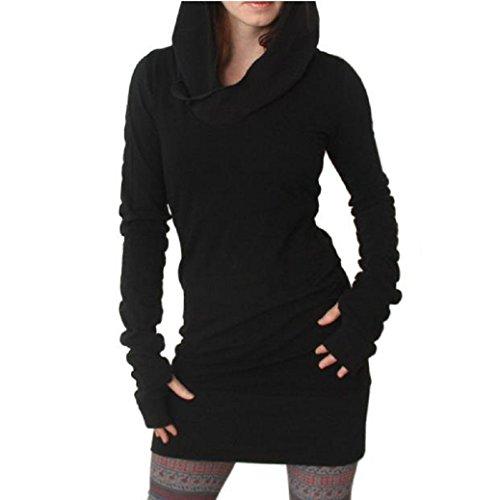 Fulltime® Femmes automne Slim Fit Coat Sweats à capuche manches longues Mini jupe - noir