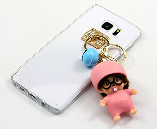 TISHAA Samsung Galaxy Note 5 Case, New 2016 Hot Silver Gold Bear Bumble Bee Strawberry Apricot Key Chain Charm Doll Case Cover (Pink (Sick Animations Halloween)