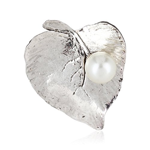 Fasherati Fashion Leaf attached pearl Brooches for girls and women by Fasherati