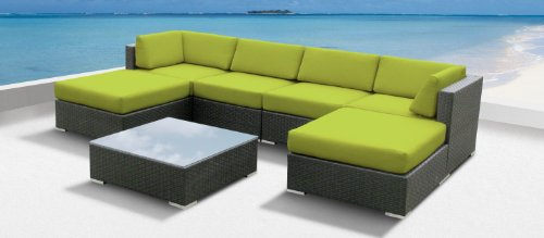Luxxella Outdoor Patio Wicker MALLINA Sofa Sectional Furniture 7pc All Weather Couch Set PERIDOT