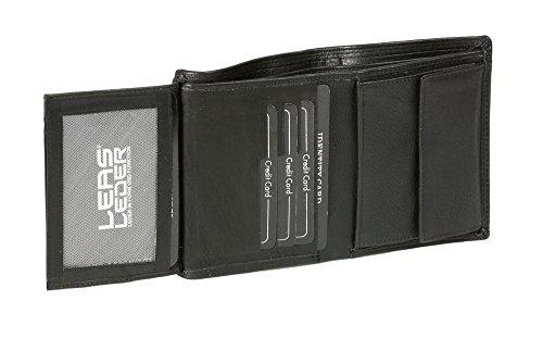 Portafoglio per Uomo e Donna formato verticale LEAS, Vera Pelle, nero - ''LEAS Escalera-Edition''