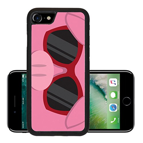 Liili Premium Apple iPhone 7 Aluminum Backplate Bumper Snap Case iPhone7 IMAGE ID: 18010975 Cartoon pig head with - Sunglasses With Cartoon Character