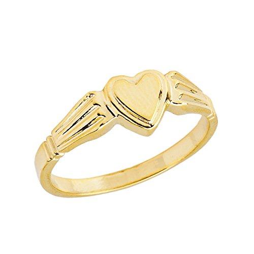 Elegant 10k Yellow Gold Ladies Solid Heart-Shaped Signet Ring (Size 3.25) - Heart Shaped Signet Ring