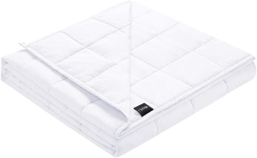 ZonLi Weighted Blanket 20 lbs(60''x80'', Queen Size, White), Cooling Weighted Blanket for Adults, 100% Cotton Material with Glass Beads