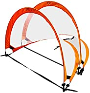 Pop Up Foldable Soccer Goal by F1TNERGY - 2 Premium Durable Orange 1.2 M (4 Ft) Portable Nets & FREE Carry