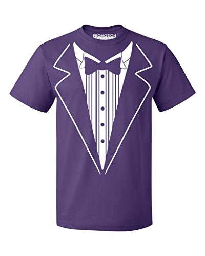 P&B Tuxedo White Funny Men's T-Shirt, L, Purple (White T-shirt Magnet)