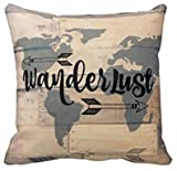 Leiacikl22 Wanderlust Rustic Wood Travel Pillowcase World Pillowcase
