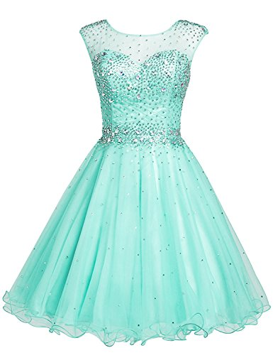 Sarahbridal Juniors Short Beaded Homecoming Dresses Tulle Sequin Crystal Prom Cocktail Gowns Mint -
