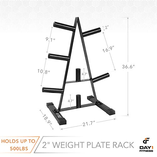 "Olympic Weight Plate Rack, Holds up to 500lb of 2"" Weights by D1F - Black Weight Holder Tree with 7 Branches for Stacking and Storing High Capacity Weights- Heavy-Duty, Durable Triangle Plate Racks by Day 1 Fitness (Image #1)"