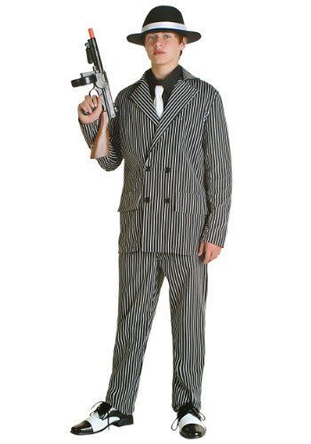 Fun Costumes boys Teen Deluxe Gangster Costume Teen (1920 Gangster Costumes)