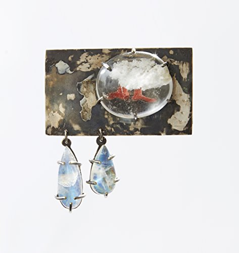 Silver, Quartz and Moonstone brooch (Moonstone Silver Brooch)