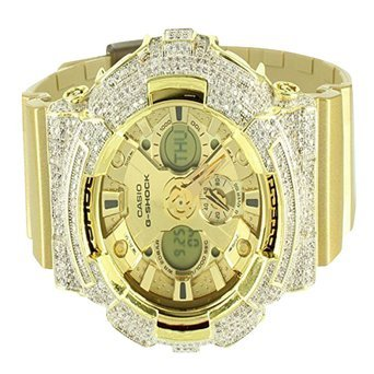 New 3 Dial Split Screen 14k Yellow Gold Finish GA200GD G Shock Rubber Band Watch by G-Shock