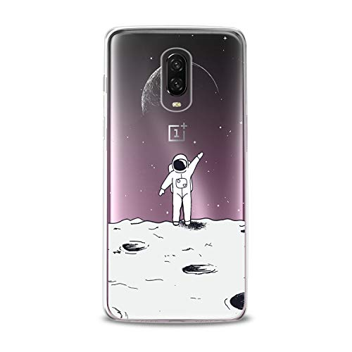 Lex Altern TPU Case OnePlus 6T 6 2018 5T 5 2017 3 2016 One+ Three 1+ Earth Cute White Astronaut in Space Clear Silicone Moon Cover Print Protective Lightweight Flexible Transparent Girl Boy Galaxy