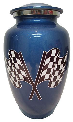 Custom-Urns R us 210 Blue Racing Flag Adult Cremation Urn