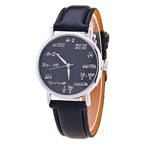 Ryanwayland-Math-Formula-Equation-Dial-Unisex-Leather-Quartz-Watch-Black