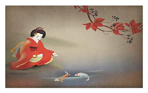 Lunarable Koi Fish Doormat, Geisha Feeding Sacred Beast Autumn Time Asian Culture Eastern Vibes Oriental, Decorative Polyester Floor Mat with Non-Skid Backing, 30 W X 18 L Inches, Sepia