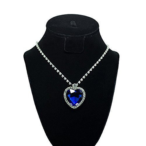(Grimbatol Heart Of Ocean Titanic Blue Heart Crystal Rhinestone Diamond Necklace Of Ross)
