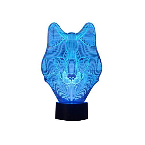 Matacai Animals Wolf 3D Night Light Touch Table Desk Lamps, 7 Color Changing Lights with Acrylic Flat & ABS Base & USB (University Neon Lamp)