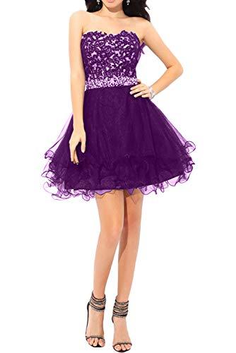Braut Abendkleider Partykleider Violett Mini Traegerlos La Festlichkleider Spitze Schulterfrei Ballkleider mia Promkleider qa4qX75x