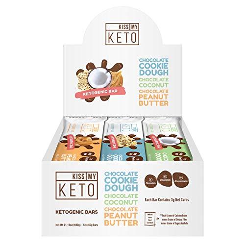 Kiss My Keto Snacks Keto Bars – Keto Chocolate Variety Pack, Nutritional Keto Food Bars, Paleo, Low Carb/Glycemic Keto Friendly Foods, All Natural On-The-Go Snacks, High Quality Fat Bars 3g Net Carbs