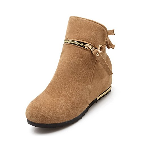 AmoonyFashion Yellow Imitated Suede Heels High Toe Closed Women's Zipper high Round Boots Ankle n7Yw807rq