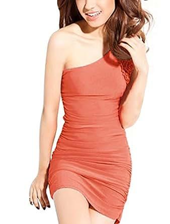 Allegra K Women Ruffled Embellished Shirred Side Ruched Single Shoulder Dress