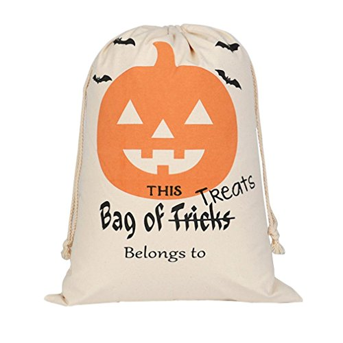(Candy Bag Trick or Treat, Keepfit Halloween Bundle Pocket Drawstring Storage Bag Satchel Rucksack (Pumpkin Smile))