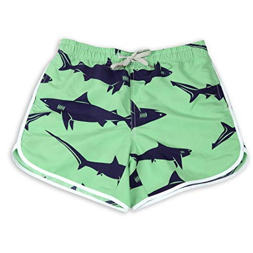Summer Womens Board Shorts Big Shark Print Couple wear Quick Drying Thin and Light Swim Trunks Size S(Green Shark, S)