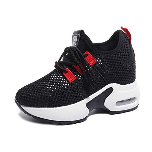 レディース スニーカー インヒール メッシュ 通気性 ウォーキング 歩きやすい 身長UP 防滑 カジュアルシューズ ランニング 厚底靴 レースアップ クッション性 革靴 コンフォート 運動靴 スポーツシューズ