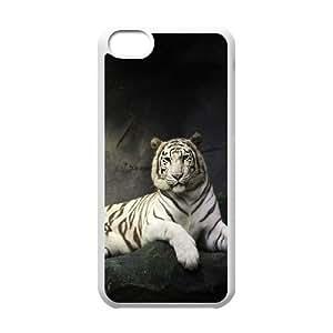 Stevebrown5v Tiger IPhone 5C Case Super Beautiful White Tiger Design for Men, Iphone 5c Cases for Girls Cheap, [White]